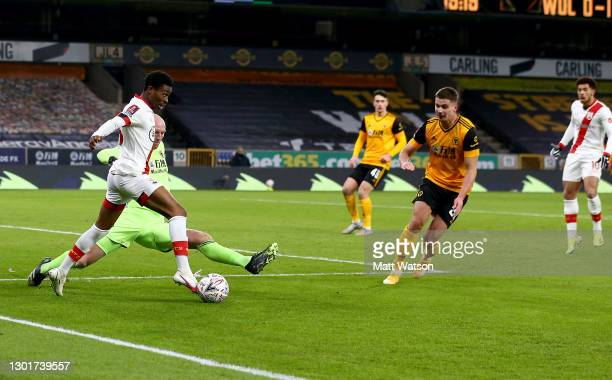 Nathan Tella of during The Emirates FA Cup Fifth Round match between Wolverhampton Wanderers and Southampton at Molineux on February 11, 2021 in...