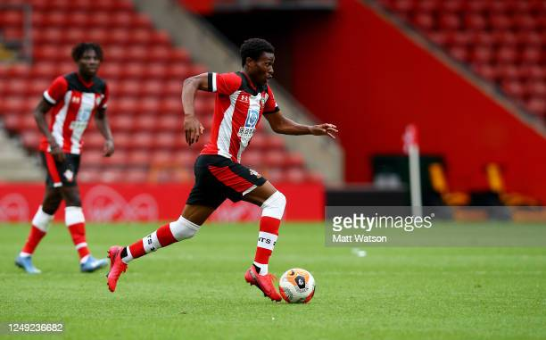 Nathan Tella of Southampton during a friendly match between Southampton FC and Bristol City ahead of the Premier League restart at St Mary's Stadium...