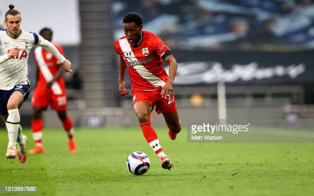 Nathan Tella of Southampton during the Premier League match between Tottenham Hotspur and Southampton at Tottenham Hotspur Stadium on April 21, 2021...