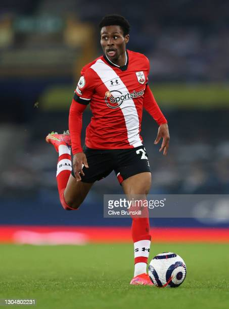 Nathan Tella of Southampton on the ball during the Premier League match between Everton and Southampton at Goodison Park on March 01, 2021 in...