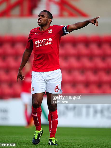 Nathan Thompson of Swindon Town during the Pre Season Friendly match between Swindon Town and Swansea City at the County Ground on July 27 2016 in...