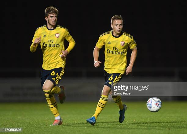 Nathan Tormey and Zak Swanson of Arsenal during the Leasingcom match between Northampton Town and Arsenal U21 at PTS Academy Stadium on August 27...