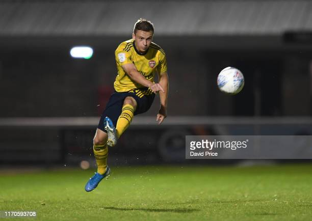Nathan Tormey of Arsenal during the Leasingcom match between Northampton Town and Arsenal U21 at PTS Academy Stadium on August 27 2019 in Northampton...