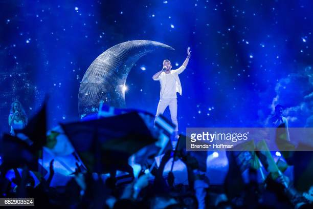 Nathan Trent the contestant from Austria performs at the Eurovision Grand Final on May 13 2017 in Kiev UkraineUkraine is the 62nd host of the annual...
