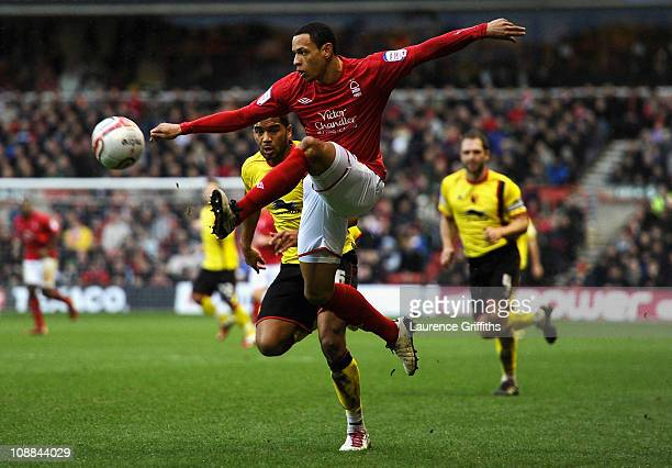 Nathan Tyson of Nottingham Forest gets ahead of Adrian Mariappa of Watford during the npower Championship match between Nottingham Forest and Watford...
