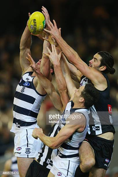 Nathan Vardy of the Cat competes for the ball against Brodie Grundy of the Magpies during the round 22 AFL match between the Geelong Cats and the...