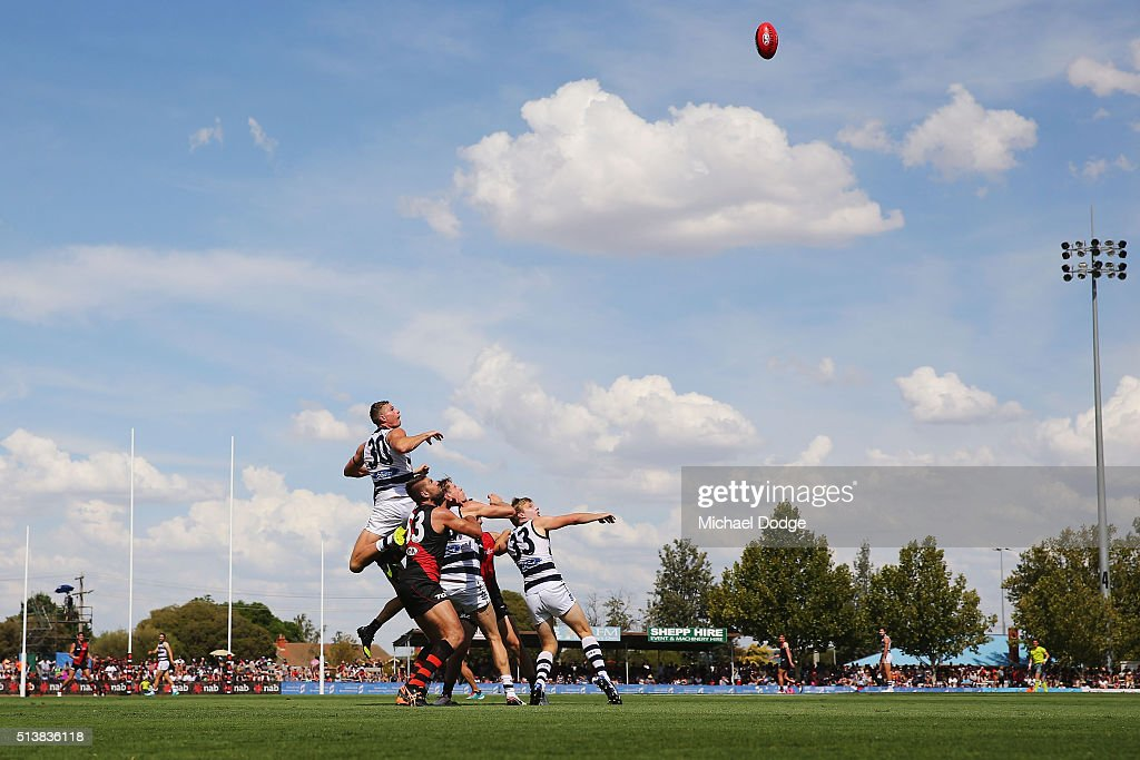 Nathan Vardy of the Cats leaps over a pack for a high mark attempt during the 2016 AFL NAB Challenge match between the Essendon Bombers and the Geelong Cats at Deakin Resserve on March 5, 2016 in Shepparton, Australia.