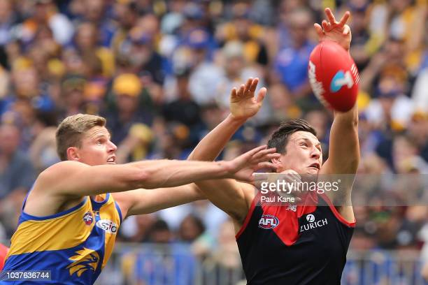 Nathan Vardy of the Eagles and Sam Weideman of the Demons contest for the ball during the AFL Prelimary Final match between the West Coast Eagles and...