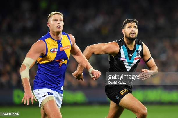 Nathan Vardy of the Eagles competes for the ruck with Patrick Ryder of the Power during the AFL First Elimination Final match between Port Adelaide...