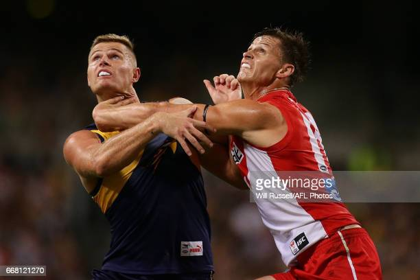 Nathan Vardy of the Eagles contests a ruck with Callum Sinclair of the Swans during the round four AFL match between the West Coast Eagles and the...