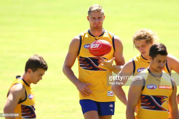 Nathan Vardy of the Eagles looks on during a West Coast Eagles AFL training session at Domain Stadium on March 20 2017 in Perth Australia