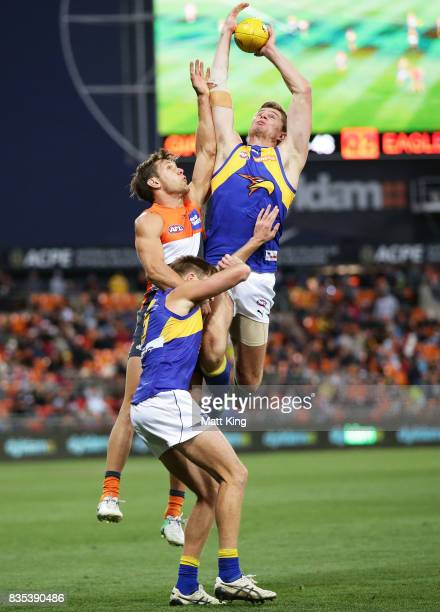 Nathan Vardy of the Eagles takes a mark over Matt de Boer of the Giants during the round 22 AFL match between the Greater Western Sydney Giants and...