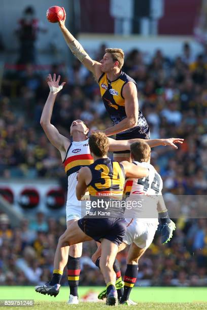 Nathan Vardy of the Eagles wins a ruck contest against Sam Jacobs of the Crows during the round 23 AFL match between the West Coast Eagles and the...
