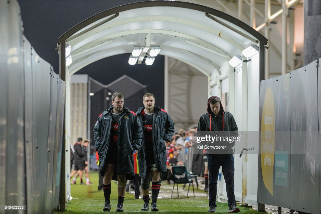Nathan Vella, Luke Whitelock and Jack Stratton of Canterbury (L-R )leave the field following the round five Mitre 10 Cup match between Canterbury and Counties Manukau on September 13, 2017 in Christchurch, New Zealand.