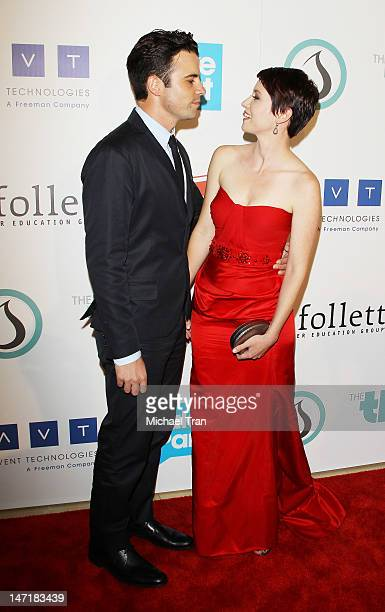 Nathan West and Chyler Leigh arrive at The Thirst Project 3rd Annual Gala held at The Beverly Hilton Hotel on June 26 2012 in Beverly Hills California