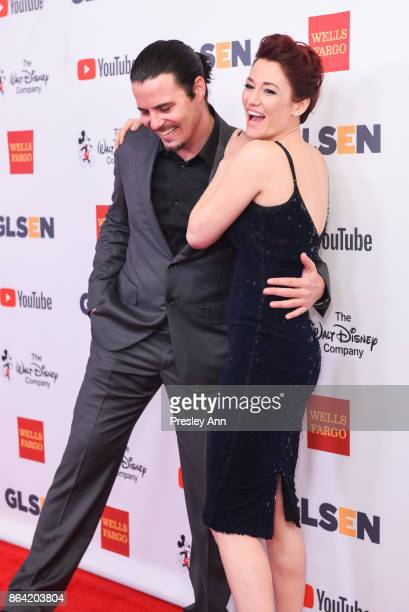 Nathan West and Chyler Leigh attend 2017 GLSEN Respect Awards Arrivals at the Beverly Wilshire Four Seasons Hotel on October 20 2017 in Beverly Hills...