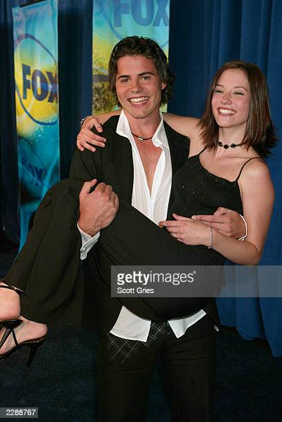 Nathan West of Septuplets and Chyler Leigh of girls club both new shows premiering on FOX at the 2002 FOX Upfronts May 15 2002 New York NY Photo by...