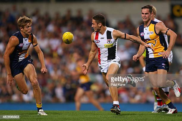 Nathan Wright of the Saints looks to gather the ball during the round three AFL match between the West Coast Eagles and the St Kilda Saints at...