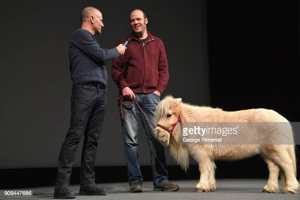 Nathan Zellner David Zellner and Daisy the horse speak onstage during the 'Damsel' Premiere during the 2018 Sundance Film Festival at Eccles Center...