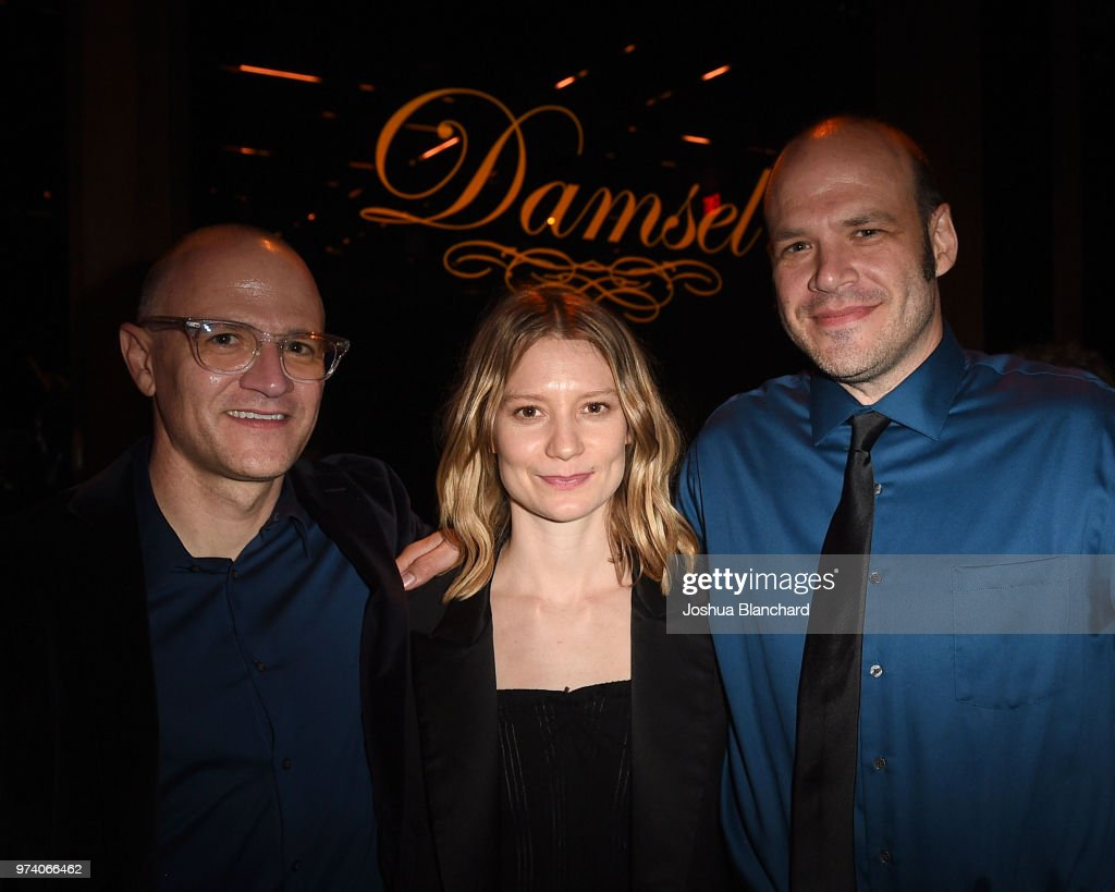 Nathan Zellner, Mia Wasikowska and David Zellner attend the after party of Magnolia's DAMSEL, sponsored by Casa Noble on June 13, 2018 in Los Angeles, California.