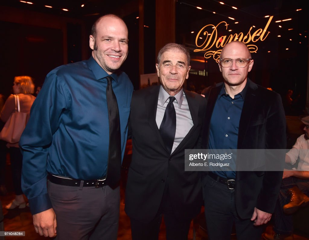 Nathan Zellner, Robert Forster and David Zellner attend the after party for the premiere of Magnolia Pictures' 'Damsel' at ArcLight Hollywood on June 13, 2018 in Hollywood, California.