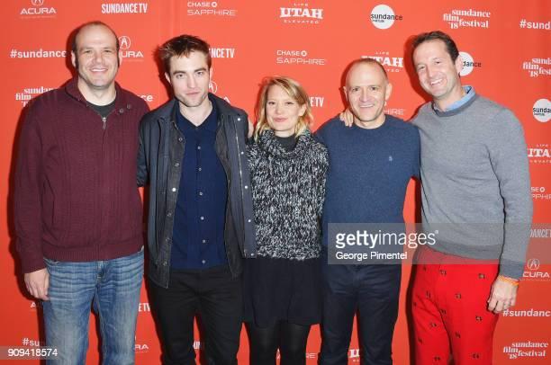 Nathan Zellner Robert Pattinson Mia Wasikowska David Zellner and Trevor Groth at the 'Damsel' Premiere during the 2018 Sundance Film Festival at...