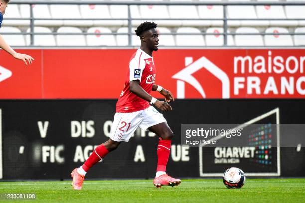 Nathanael MBUKU of Reims during the Ligue 1 match between Reims and Girondins Bordeaux at Stade Auguste Delaune on May 23, 2021 in Reims, France.