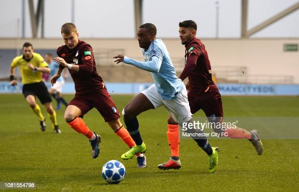 Nathanael Ogbeta of Manchester City controls the ball from Luis Gorlich of TSG 1899 Hoffenheim during the UEFA Youth League Group F match between...