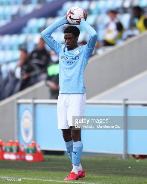 Nathanael Ogbeta of Manchester City in action during the Premier League 2 match between Manchester City and Derby County at Manchester City Football...
