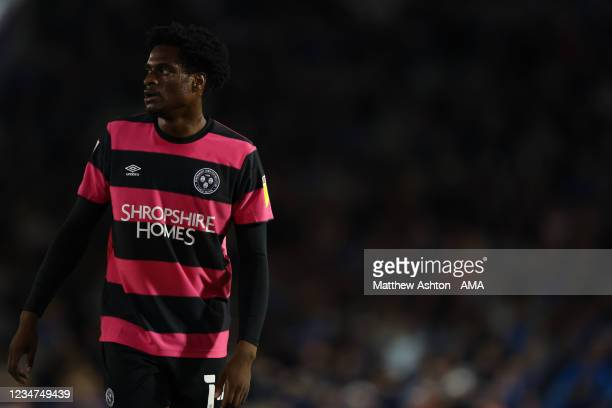 Nathanael Ogbeta of Shrewsbury Town during the Sky Bet League One match between Portsmouth and Shrewsbury Town at Fratton Park on August 17, 2021 in...