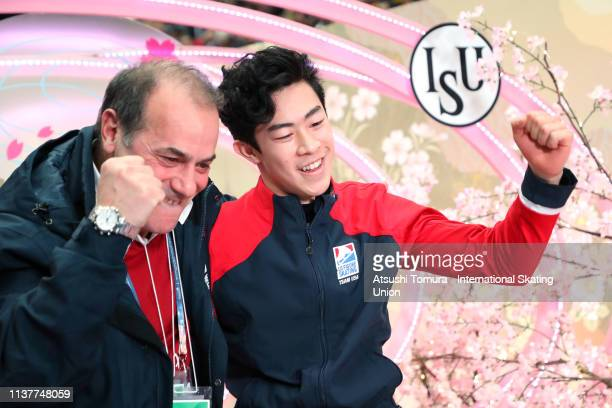 Nathan Chen of the United States celebrates his score with his coach at the kiss and cry after competing in the Men Free Skating on day four of the...