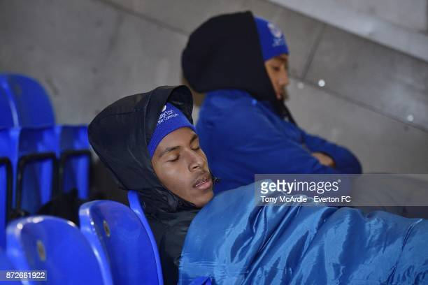 Nathangelo Markelo and Anton Donkor of Everton as they take part in the Goodison Sleepout at Goodison Park on November 10 2017 in Liverpool England