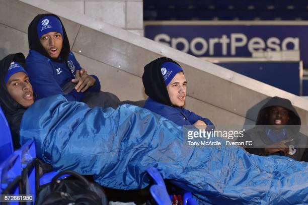 Nathangelo Markelo Anton Donkor Boris Mathis and Bassala Sambou of Everton as they take part in the Goodison Sleepout at Goodison Park on November 10...