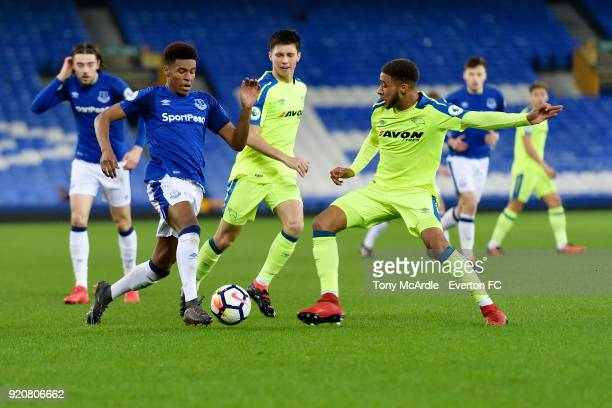 Nathangelo Markelo of Everton and Jayden Bogle of Deby County challenge for the ball during the Premier League 2 match between Everton U23 and Derby...