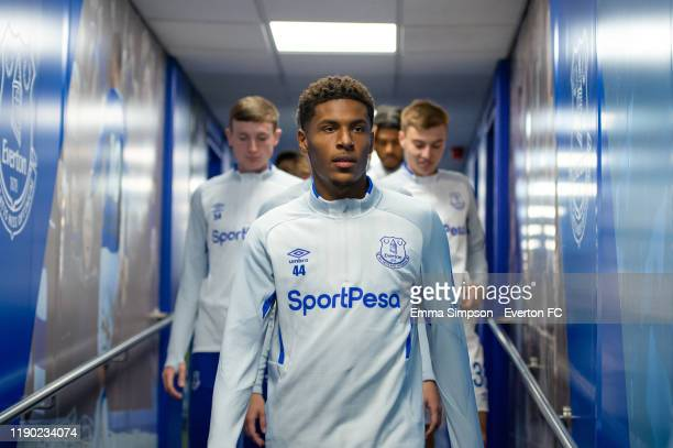 Nathangelo Markelo of Everton walks out for the warm up prior to the match between Everton U21 and Fleetwood Town at Goodison Park on November 26...