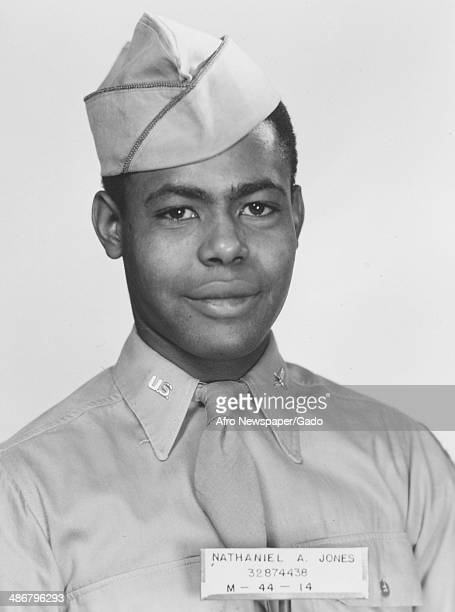 Nathaniel A Jones head and shoulders portrait, taken during his service in World War 2 as part of the Tuskegee Airmen, the first squadron of African...