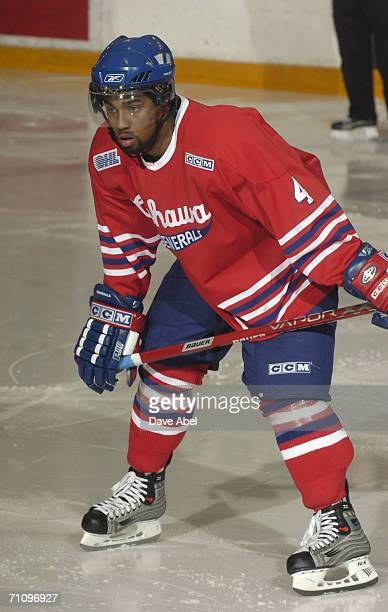 Nathaniel Brooks of the Oshawa Generals waits on the ice during the OHL game against the Toronto St. Michael's Majors at St. Michael's College School...