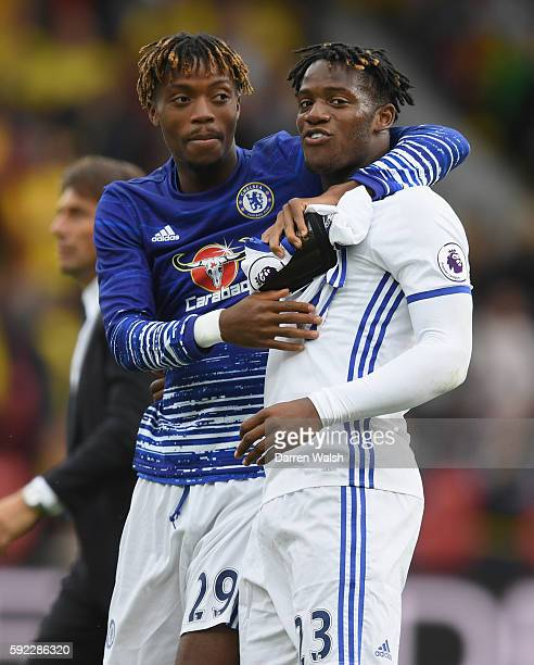 Nathaniel Chalobah of Chelsea celebrates with his team mate Michy Batshuayi of Chelsea who scores Chelsea's second goal during the Premier League...
