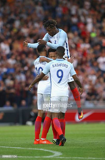 Nathaniel Chalobah of England celebrates the gaoal of Ruben LoftusCheek during the European Under 21 Qualifier match between England U21 V Norway U21...