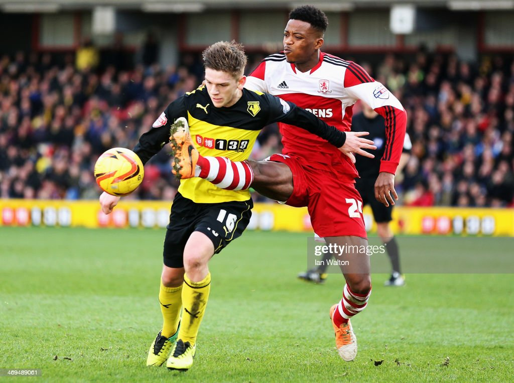 Nathaniel Chalobah (R) of Middlesbrough tackles Sean Murray (L) of Watford during the Sky Bet Championship match between Watford and Middlesbrough at Vicarage Road on February 15, 2014 in Watford, England.