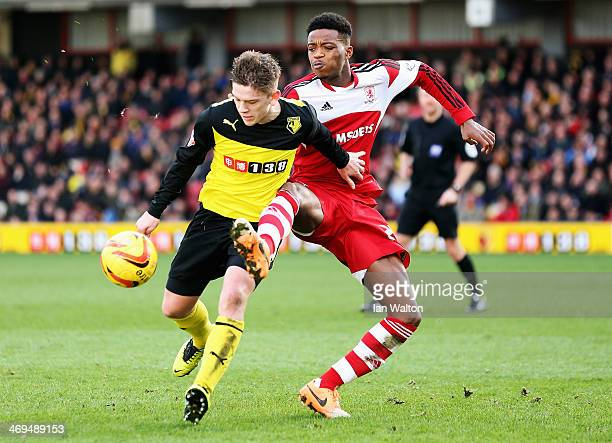 Nathaniel Chalobah of Middlesbrough tackles Sean Murray of Watford during the Sky Bet Championship match between Watford and Middlesbrough at...