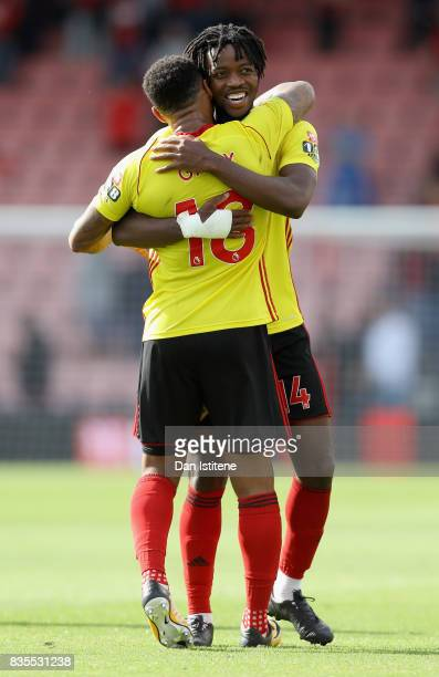 Nathaniel Chalobah of Watford and Andre Gray of Watford celebrate their victory after the Premier League match between AFC Bournemouth and Watford at...