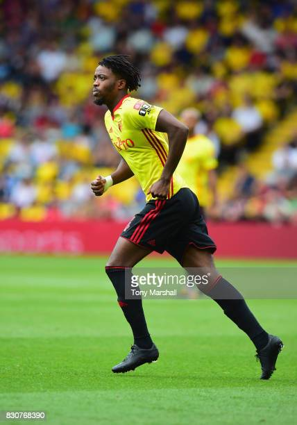 Nathaniel Chalobah of Watford during the Premier League match between Watford and Liverpool at Vicarage Road on August 12 2017 in Watford England