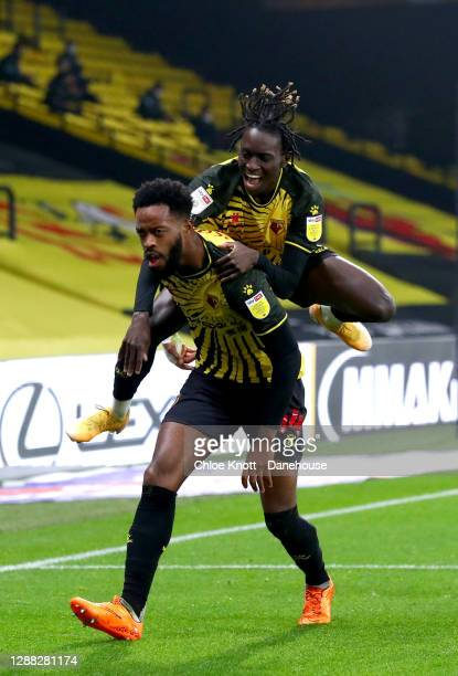 Nathaniel Chalobah of Watford FC celebrates scoring his teams third goal during the Sky Bet Championship match between Watford and Preston North End...