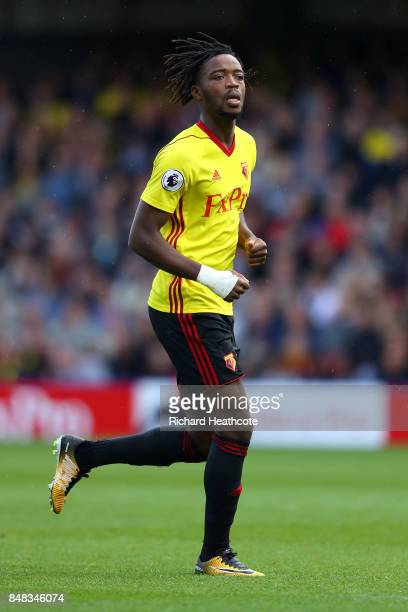 Nathaniel Chalobah of Watford in action during the Premier League match between Watford and Manchester City at Vicarage Road on September 16 2017 in...