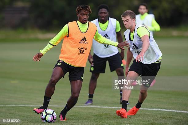 Nathaniel Chalobah Patrick Bamford at Chelsea Training Ground on July 6 2016 in Cobham England