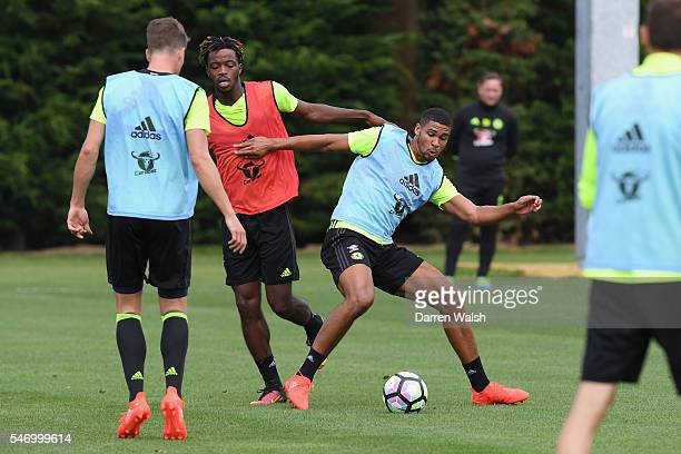 Nathaniel Chalobah Ruben LoftusCheek at Chelsea Training Ground on July 13 2016 in Cobham England