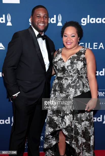 Nathaniel Cline and Yamiche Alcindor attend the 29th Annual GLAAD Media Awards at The Hilton Midtown on May 5 2018 in New York City