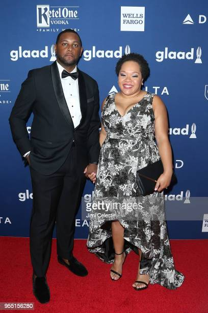 Nathaniel Cline and Yamiche Alcindor attend the 29th Annual GLAAD Media Awards at the New York Hilton Midtown on May 5 2018 in New York New York