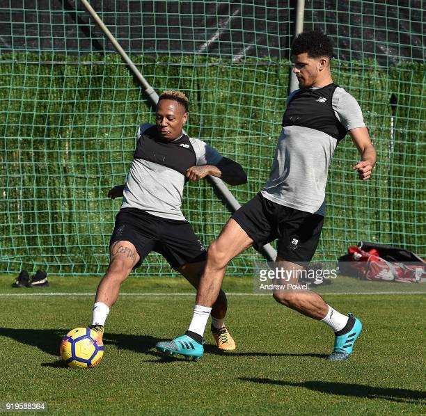 Nathaniel Clyne and Dominic Solanke of Liverpool during a training session at Marbella Football Center on February 17 2018 in Marbella Spain